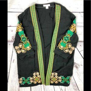 H&M Black Embroidered Kimono